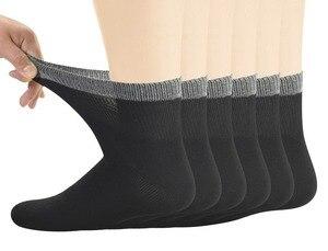 Image 1 - Meias de tornozelo diabético de bambu masculino com toe sem costura e parte superior não obrigatória, 6 pares tamanho l (10 13)
