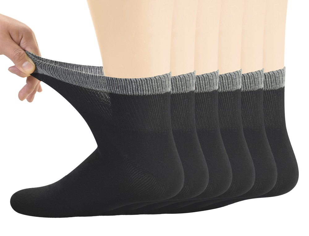 Мужские бамбуковые диабетические носки до щиколотки с бесшовным носком и без завязывания, 6 пар, размер L (10-13)