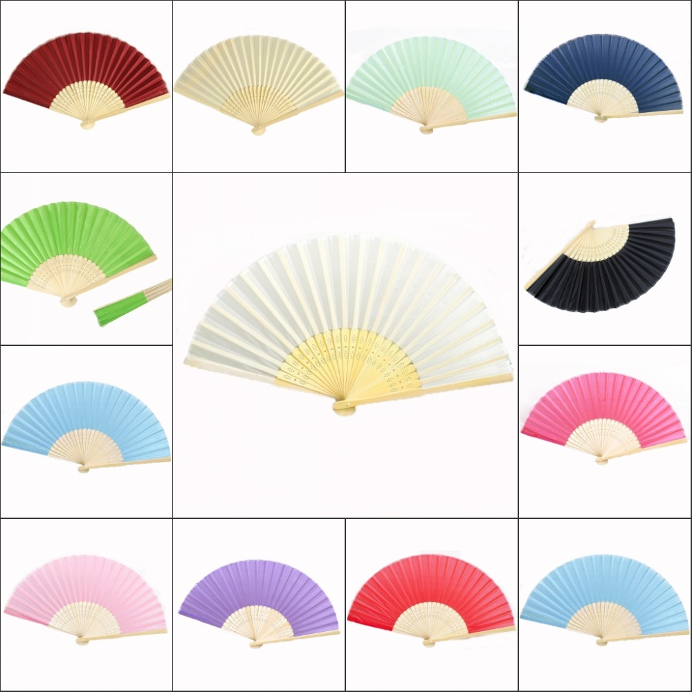 50 pieces* Ladies Bamboo & Raw Silk Fan Hollow Out Hand Folding Fans ...