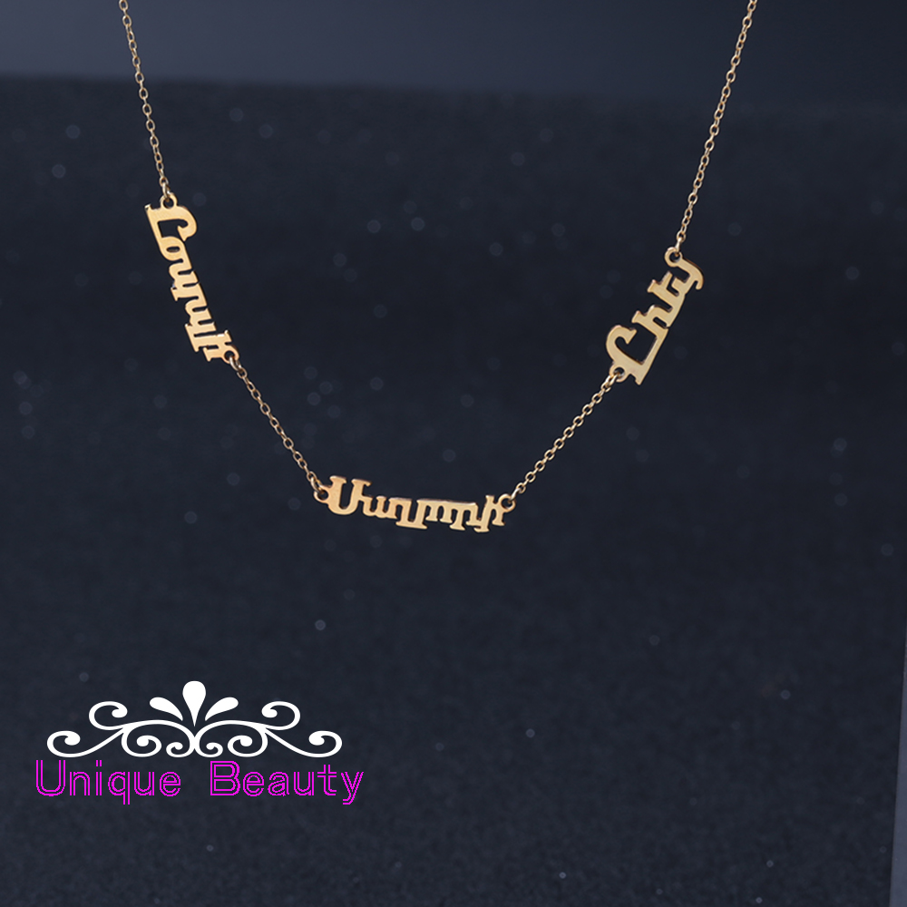 цена 925 Solid Silver 3 Nameplates Customized Necklace Personalized With Rose Gold Plate Name Pendants Family Necklace Women Jewelry в интернет-магазинах