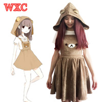 Harajuku Japanese Rilakkuma Dress Cute Bear Embroidery Overall Dresses With Detachable Hat Lolita Mori Girls Straps Dress WXC