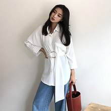 76f5ac558037c Women Long Blouses 2018 Autumn Spring Casual Buttons Office Ladies Elegant  Lace-up Fitted Waist Girdling Retro Tops shirt