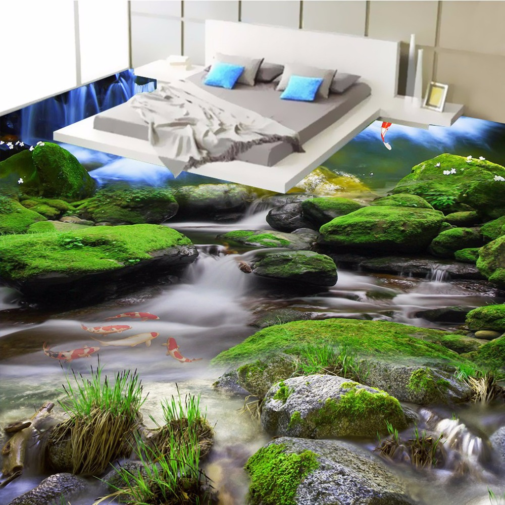 ФОТО Free Shipping 3D Creek Waterfall Rocks floor painting background bedroom hallway aisle floor wallpaper mural