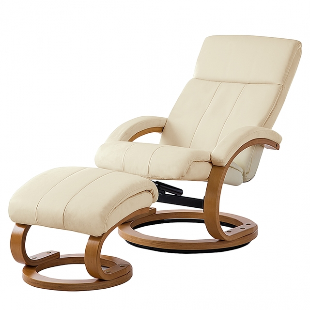 Modern Swivel Chair Leather Upholstered Chaise Lounge With Ottoman White Black Colors Living Room Furniture