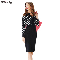 Dropshipping 2014 Newest Autumn Women Long Sleeve Dot Print V Neck Empire Waist OL Career Pencil