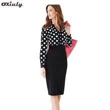 Oxiuly Women Office Dresses 2017 Autumn Polka Dot V Neck Long Sleeve Pencil Dress Women Bodycon Dress For Formal Work Wear