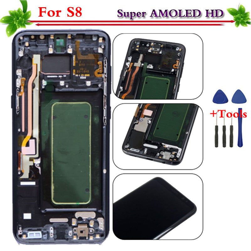 Per Samsung Galaxy S8 G950 G950F display LCD con touch screen digitizer telaio di Montaggio di Ricambio Testati Al 100% Super AMOLED
