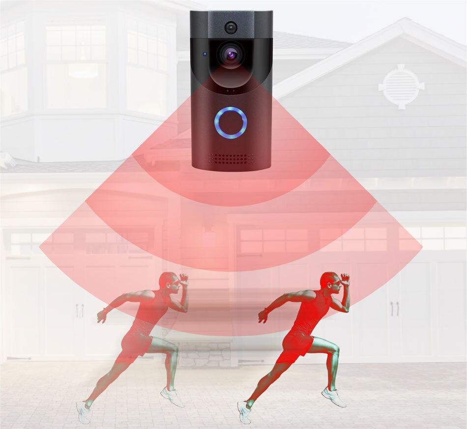 WIFI sonnette caméra sécurité intelligente IP65 étanche interphone vidéo porte cloche 720 P sapin alarme IR vision nocturne 18650 batterie puissance - 5