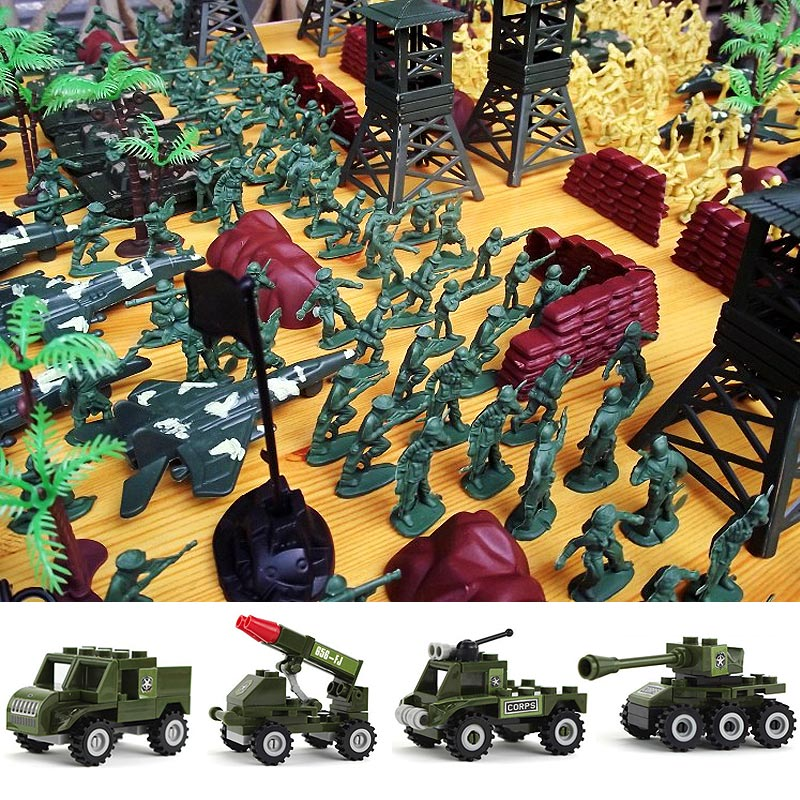 Hot 407pcs Soldier Action Figures Set Rocket Tank Model Kit Military War Building Blocks Toy For Boy Children Army Figma Gift new very cool action toy figures 6 pcs orcs with weapon ancient military solider model set diy assembly half orc model puppet