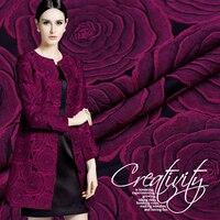 Purple Roses Jacquard Fabrics Imported Brand Fashion Dress Trench Coat