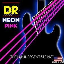 Cordes de guitare basse luminescentes DR K3 Hi-def Neon Pink, lumière 40-100 ou moyenne 45-105 ou 5 cordes 45-125