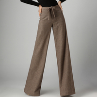 2019 autumn and winter Fashion casual office lady wool plus size brand high waist wide leg pants for women female girls 79326