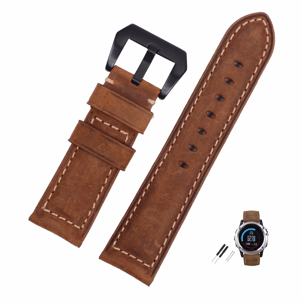 EACHE 26mm Handmade Matte Vintage Genuine Leather Watchband Replacement Watch Strap Fit For Garmin Fenix 3 Silver  Black Buckle new matte red gray blue leather watchband 22mm 24mm 26mm retro strap handmade men s watch straps for panerai