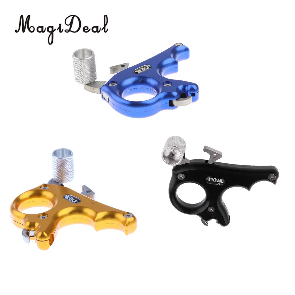 MagiDeal 1Pc Aluminium Alloy 3 Finger Archery Compound Bow Release Aid Thumb Grip Ambidextrous Tool for Hunting Shooting Sports allen company exacta xx archery buckle release
