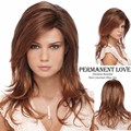 Auburn long layered wigs with side bangs natural hairline Charming straight Synthetic hair wig for Women pelucas pelo natural