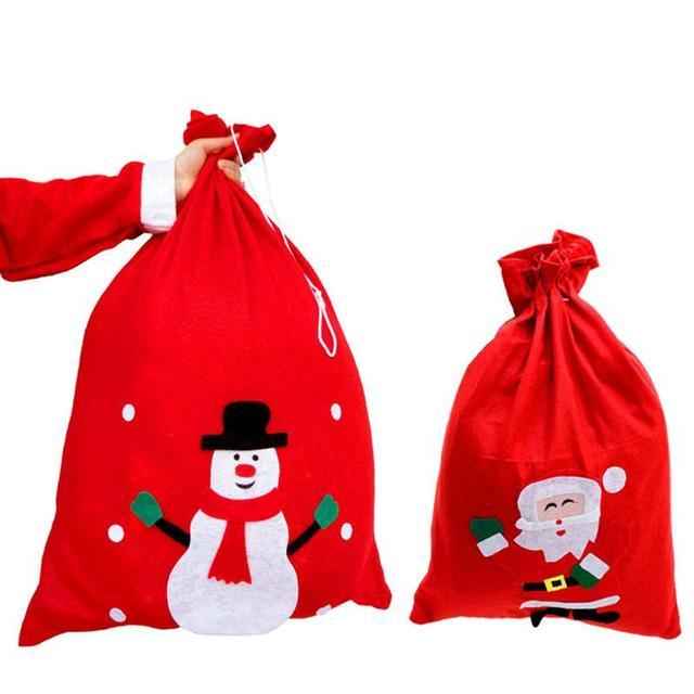 Christmas Costumes Fabric Santa Claus Gift Sack Cord Drawstring ...