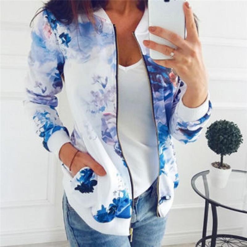 Autumn Flower Floral Print Baseball Jacket Bomber Jacket Women Basic Coat Long Sleeve Top Streetwear Zipper Casual Outwear Evident Effect