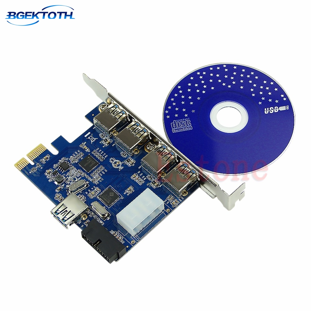 5 Ports PCI-E PCI Express Card To USB 3.0+19 Pin Connector 4 Pin Adapter For Win Feb6