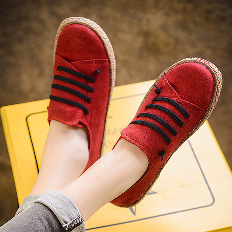 Shoes Fashion Creepers Platform Autumn Shoes Lace-up For Women Red Casual Shoes Women Loafers Flats For Woman Plus Size 11 2018 new arrivals women flats shoes fashion bling women flats platform loafers lace up women casual shoes black