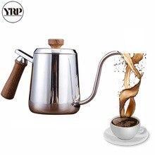 YRP 350ML/600ML Stainless Steel Coffee Drip Kettle Hand Wooden TeaPot Gooseneck Led Spout Pour Hario Tea Pot For Barista