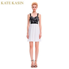 c55c17781 Kate Kasin Preto Renda Vestidos Cocktail 2017 Cinza Branco Azul Ocasião  Especial Vestido de Festa do