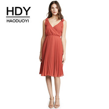 ef23bc2f4d HDY Haoduoyi Solid Deep V Neck Sleeveless Midi Dress Casual Office Lady  Sexy High Waist Red Knot Bow Strap Pleated Dress