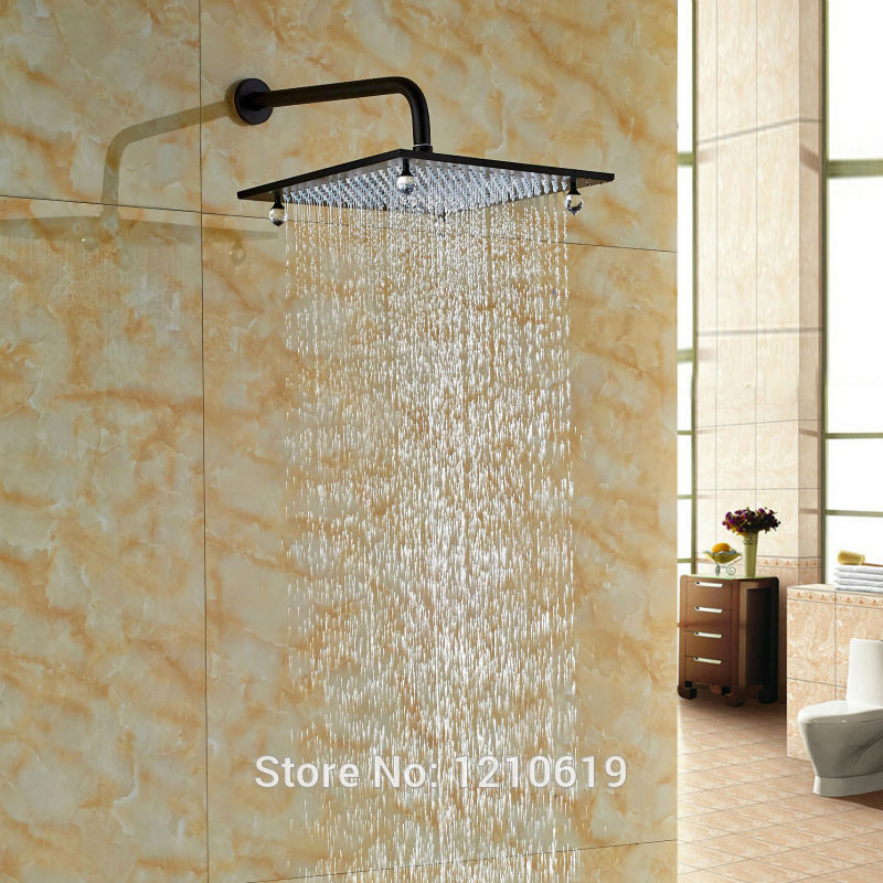 Newly Crystal Style Bathroom Shower Head 12 Wall Mount Oil-rubbed Bronze Top Shower Spray Head w/ Shower Arm led light 12 brass rain shower head wall mount shower arm bathroom round shower head oil rubbed bronze