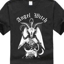ФОТО 2017 men's cool  angel witch baphomet t shirt heavy metal rock punk music satan  design tops tee fashion printed t shirt