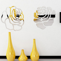 New RoseFlower 3D Mirror Wall Stickers DIY Home Decor Living Room Bedroom Wall Decoration Acrylic Mirrored