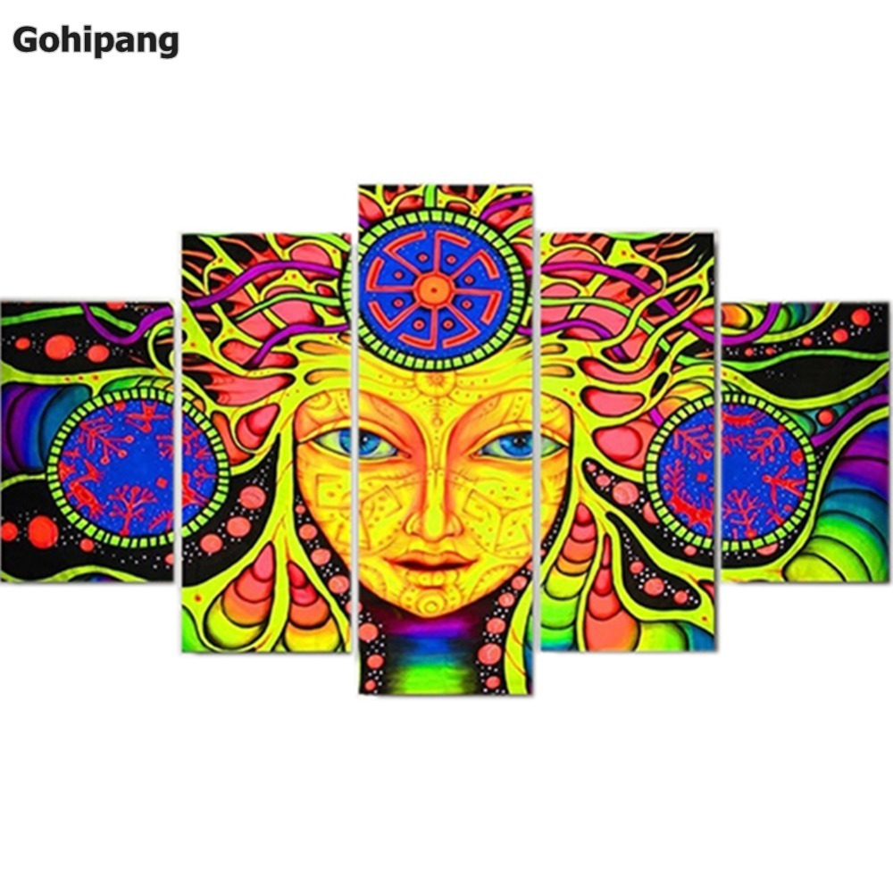 Canvas Printed Psychedelic Mandala Abstract Paintings 5 Panels Wall ...