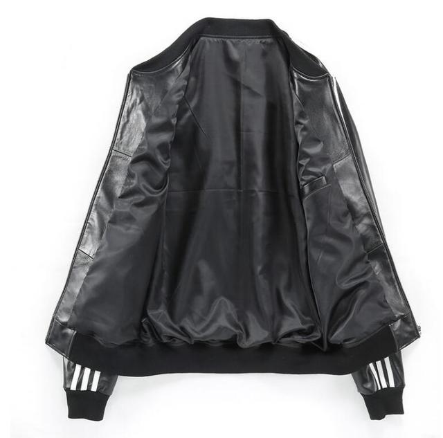 NEW ! 2017 David Beckham geniune sheep skin leather cow leather jacket men's motorcycle leather jacket baseball coat black