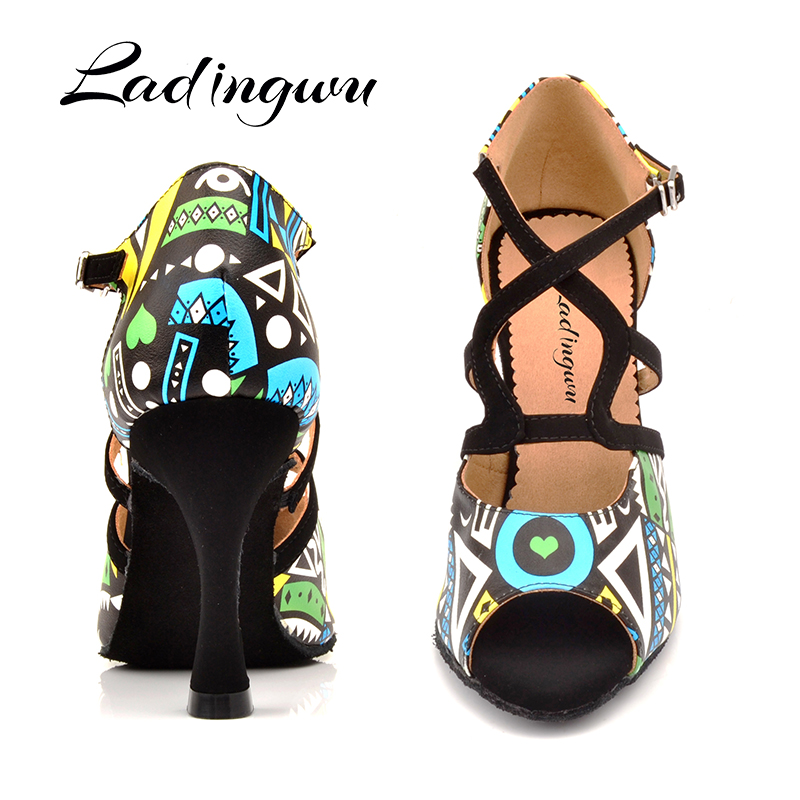 Ladingwu Brand Latin Dance Shoes Women Blue/Orange African Texture Ballroom Dance Shoes For Lady Salsa Dance Shoes Black Suede
