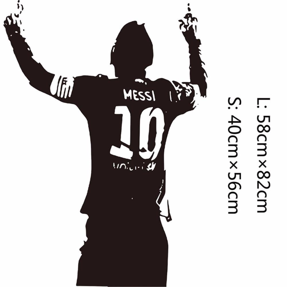 Zwart PVC Enorme Football Ster Lionel Messi Figuur Muursticker Vinyl DIY Kids Woonkamer Muursticker Decals Voor Voetbal liefhebbers 4
