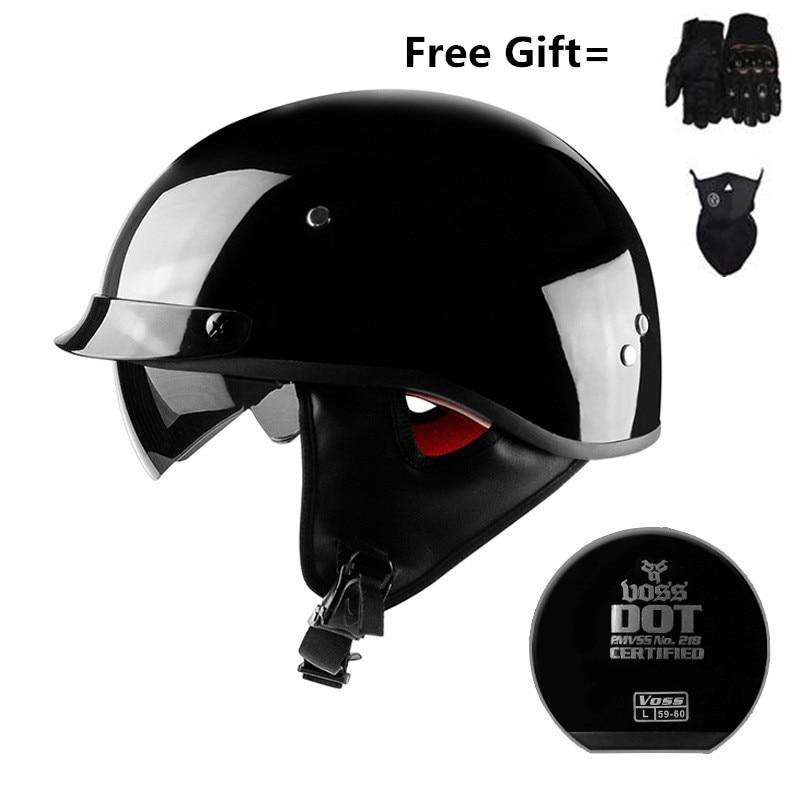 Skull Cap Motorcycle Helmet Vintage Half Face Helmet Retro German Style chopper Cruiser with gloves and