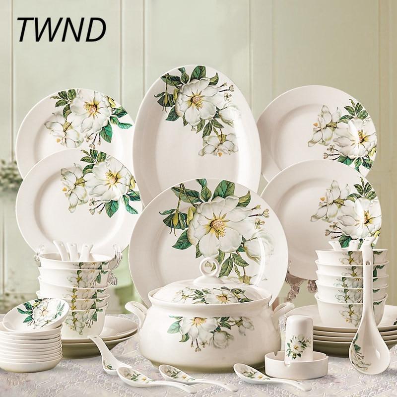 28 шт. костяного фарфора, посуда наборы bowl блюда плиты суповые наборы Расписанную Посуда