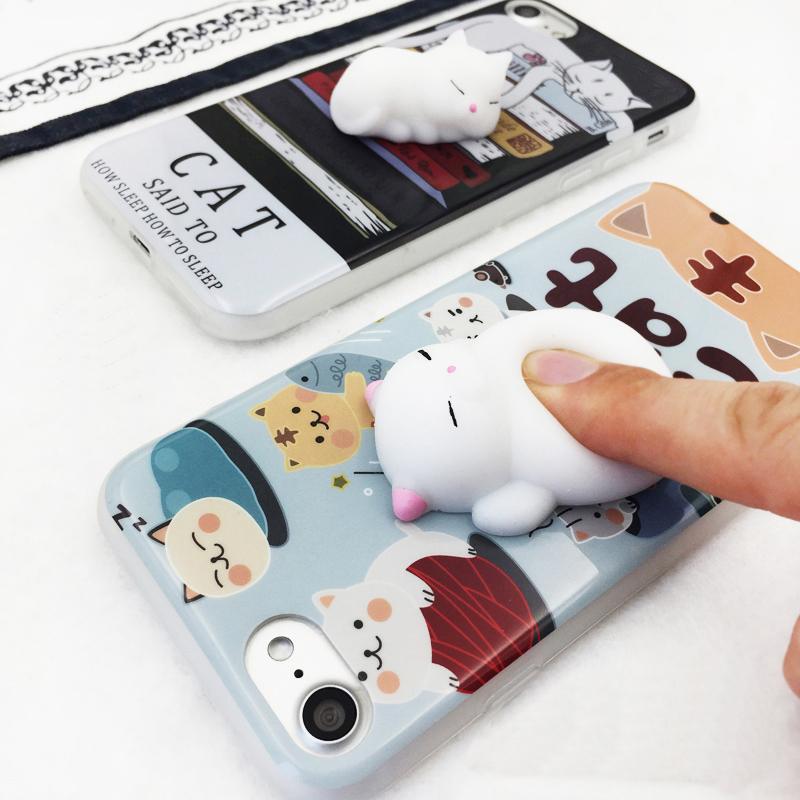 Squishy Cat Stick On Phone : Cartoon Squishy 3D Cats Phone Cases For iPhone 6 6S 6Plus 7 7Plus Lovely Cat Claw Soft Silicone ...