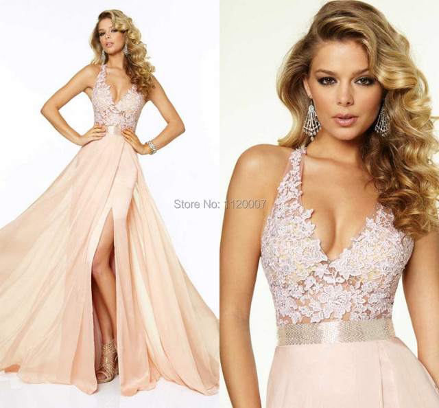 Light Pink Halter Neck Sleeveless Sexy Backless Dress Formal Evening Elegant  Chiffon Long Lace Income Prom Dresses 2015 a20baeb74b52
