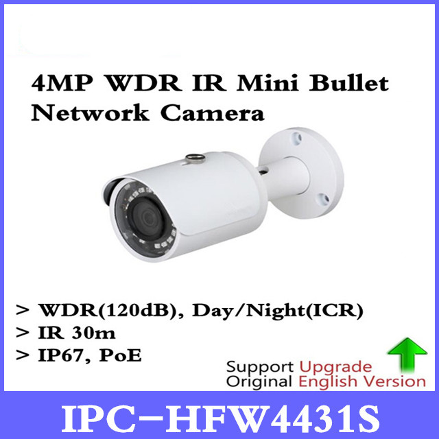 DH Original English versio IPC-HFW4431S 4MP H.265 POE 30M IR IP67 Waterproof HFW4431S WDR Outdoor Network Mini Bullet Camera цена