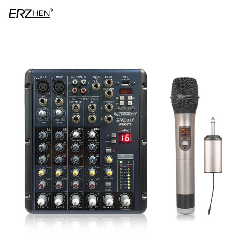 Audio Mixer Console W7000T6 Professional Mixer Audio Amplifier Sound Processor 8 Channel