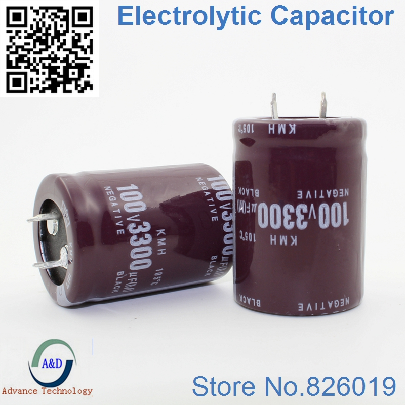 12pcs/lot 100V 3300UF Radial DIP Aluminum Electrolytic Capacitors Size 30*40 3300UF 100V Tolerance 20%