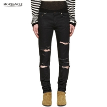 MORUANCLE Hi-Street Mens Ripped Jeans Pants Fashion Streetwear Distressed Denim Joggers Holes Brand Designer Destroyed Trousers
