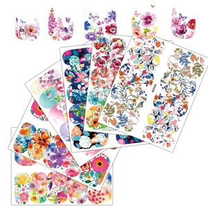 Image 2 - 25 Sheets Nail Art Sticker Sets Mixed Color Flower Full Water Decals Butterfly Slider Stickers For Polish Manicure TRWG266 290