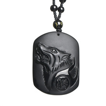 Obsidian Wolf Necklace Drop Shipping Black A Obsidian Stone Amulet Wolf Head Pendant Necklace fine Jewelry Gift obsidian necklace natural stone wolf head pendant buddha guardian ball chain carving amulet with obsidian blessing lucky jewelry