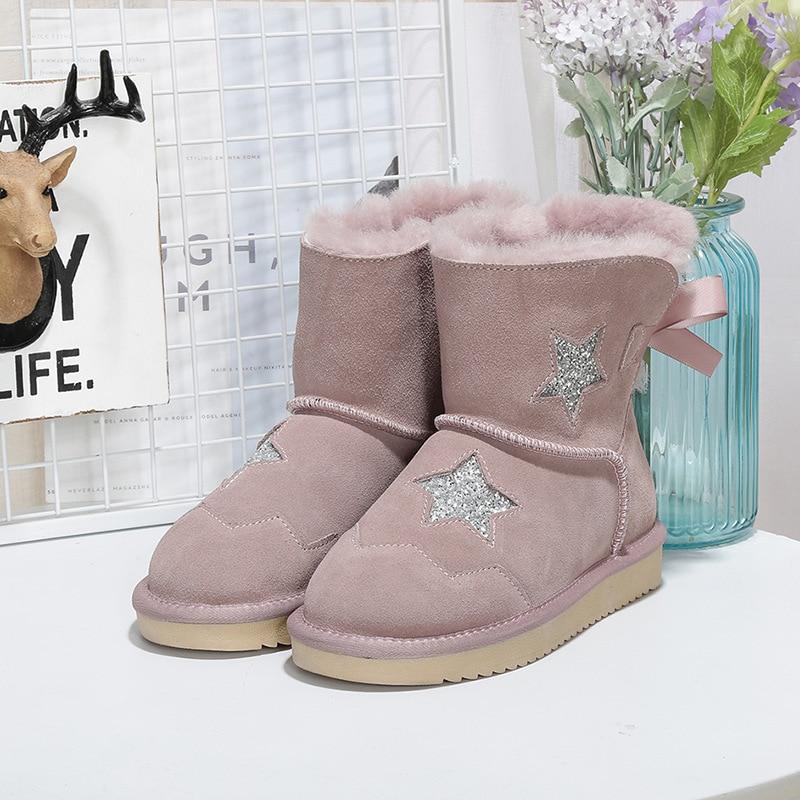 53cc4337d Botas Black Invierno Austalia Marca Cuero pink Moda gray light Barato Nieve  2018 Genuino Mujer Para La Zapatos De Cálido ...