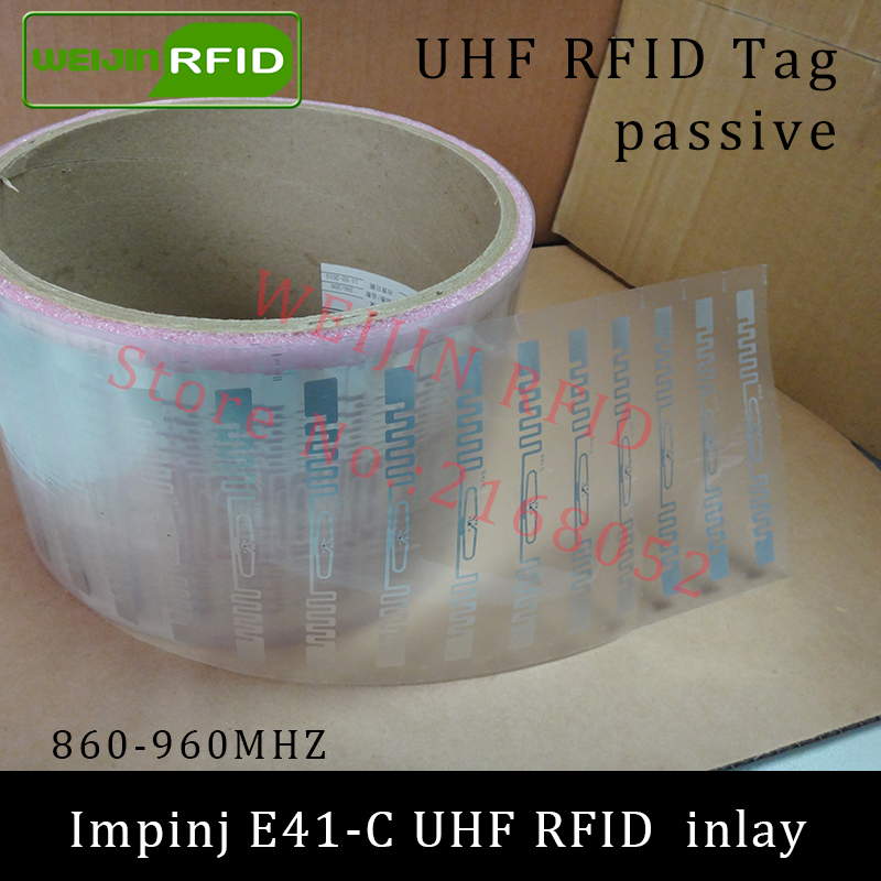 UHF RFID tag Impinj E41-C dry inlay 915mhz 900mhz868mhz 860-960MHZ  EPCC1G2 ISO18000-6C smart card passive RFID tags label 860 960mhz long range passive rfid uhf rfid tag for logistic management