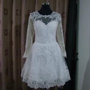 Image 3 - Vestido דה Noiva 2021 קצר שמלת או 2 em 1 חתונת שמלה ארוך שרוולים תחרה אשליה כלה שמלות