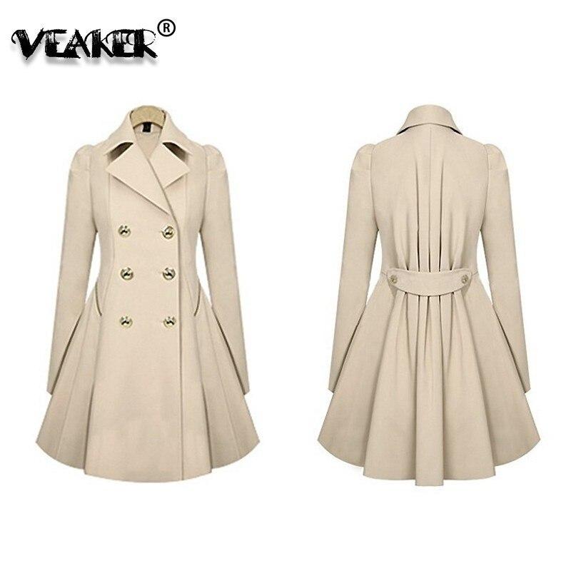 Autumn Fashion Women Trench Coat Fashion Slim Solid Double Breasted Ties medium-long wind-breaker vadim Female Outwear Dust Coat