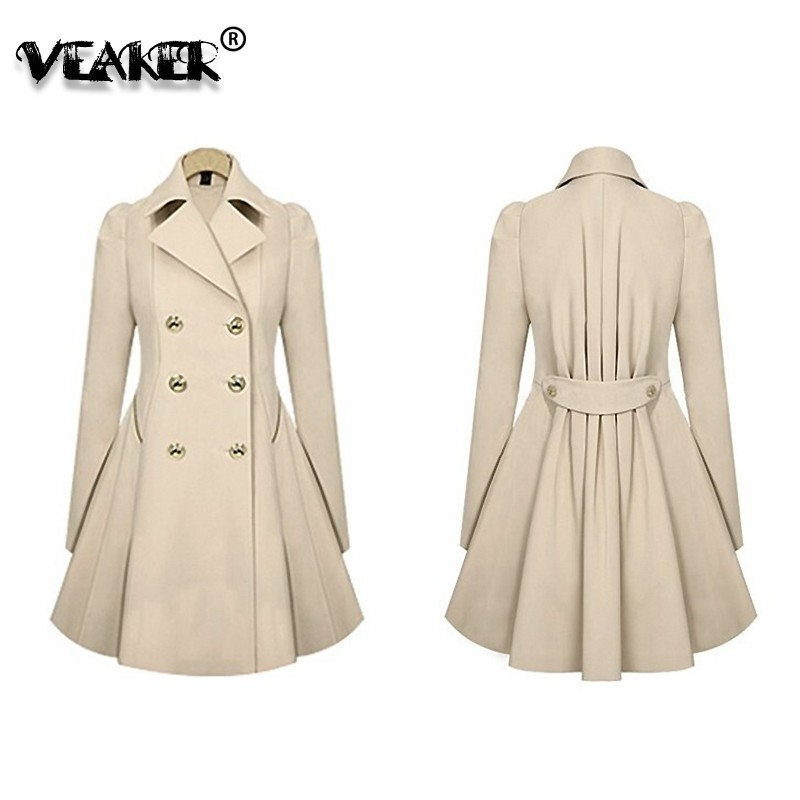 Autumn Fashion Women   Trench   Coat Fashion Slim Solid Double Breasted Ties medium-long wind-breaker vadim Female Outwear Dust Coat