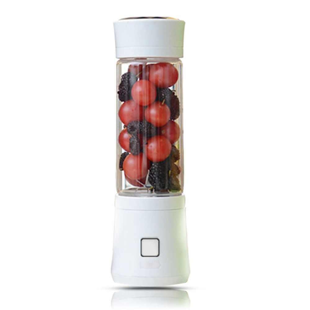 480 ml 6 Lâminas Portátil USB Mini Garrafa de Vidro Liquidificador Juicer Suco de Frutas Moedor de Carne Misturador Máquina de fazer o Transporte Da Gota