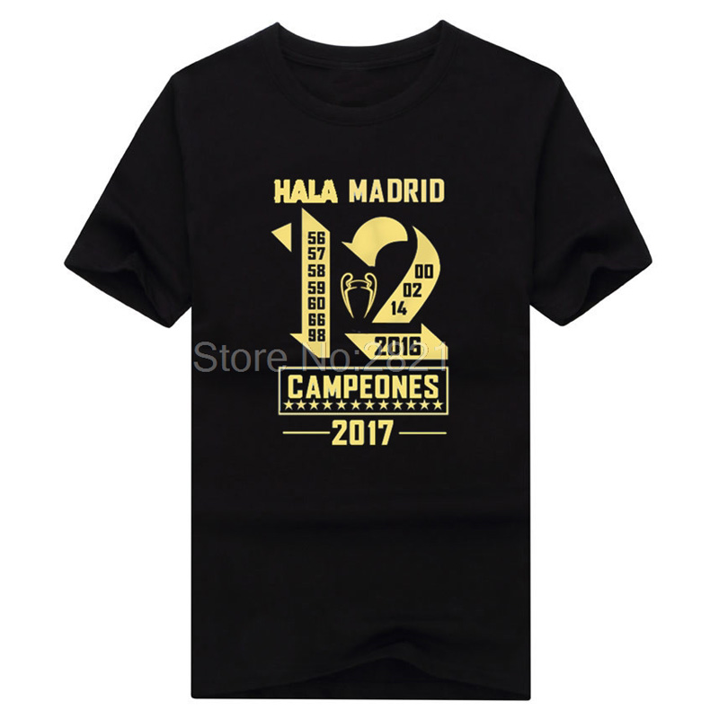 2018 real campeones Winners 12 la Duodecimo cotton Short Sleeve champions T-Shirt Man casual for hala madrid ronaldo fans gift